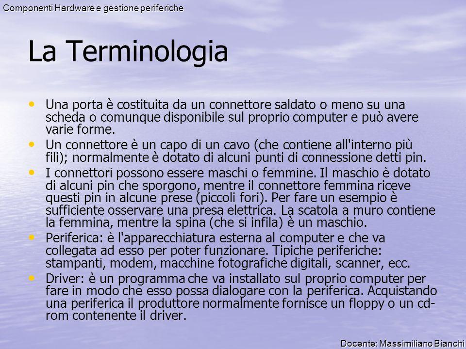 Docente: Massimiliano Bianchi Componenti Hardware e gestione periferiche La Terminologia Una porta è costituita da un connettore saldato o meno su una