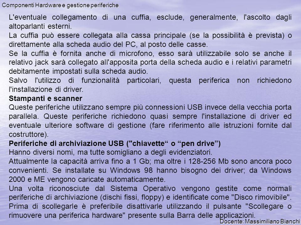 Docente: Massimiliano Bianchi Componenti Hardware e gestione periferiche L'eventuale collegamento di una cuffia, esclude, generalmente, l'ascolto dagl
