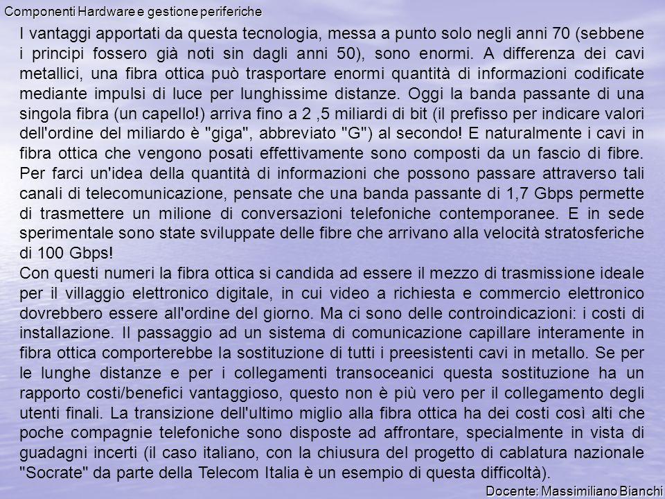 Docente: Massimiliano Bianchi Componenti Hardware e gestione periferiche I vantaggi apportati da questa tecnologia, messa a punto solo negli anni 70 (