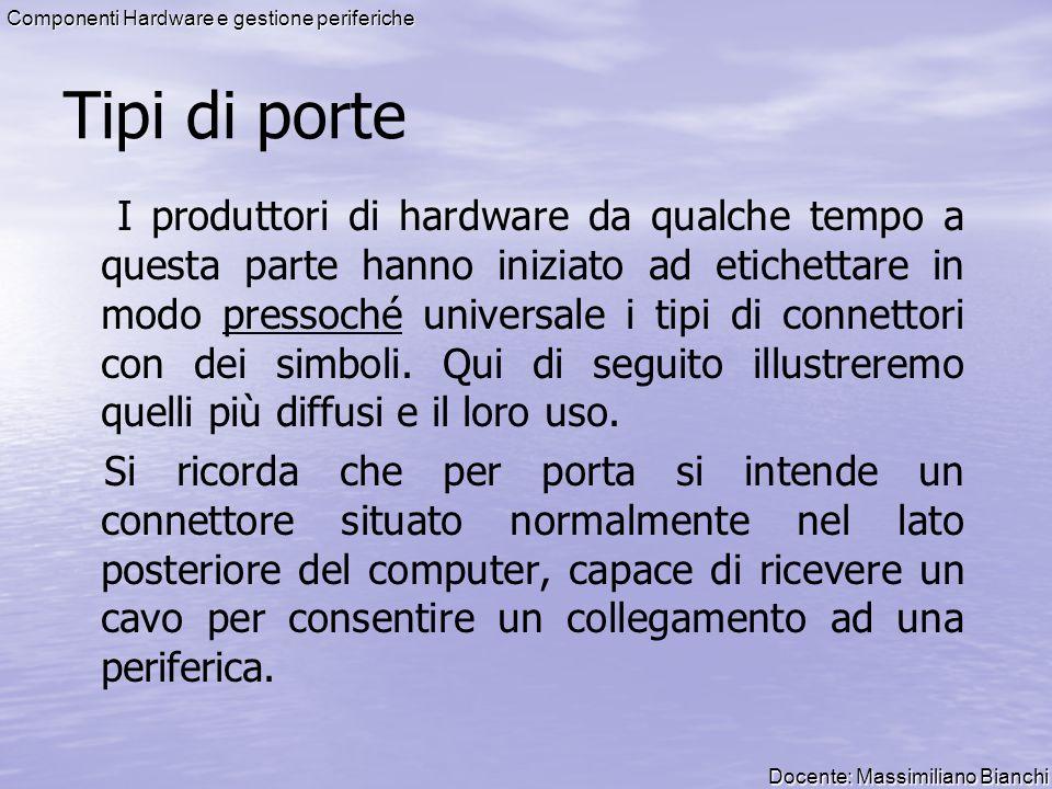 Docente: Massimiliano Bianchi Componenti Hardware e gestione periferiche Tipi di porte I produttori di hardware da qualche tempo a questa parte hanno