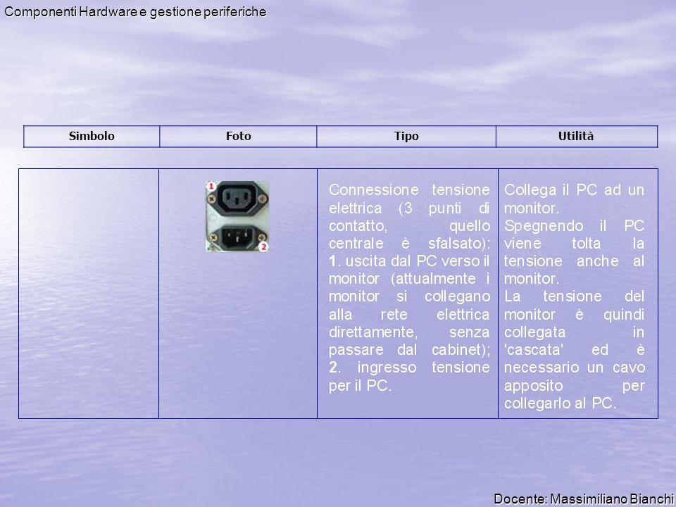 Docente: Massimiliano Bianchi Componenti Hardware e gestione periferiche Tipi di connettori e cavi Il presente documento descrive i connettori più diffusi nell ambito dei PC; alcuni produttori come ad esempio la Apple inc.