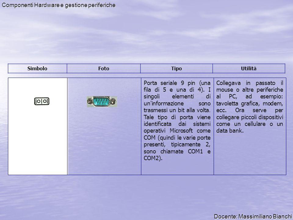 Docente: Massimiliano Bianchi Componenti Hardware e gestione periferiche Porta seriale minidin PS/2 mouse (7 punti di contatto disposti all interno di un cerchio).