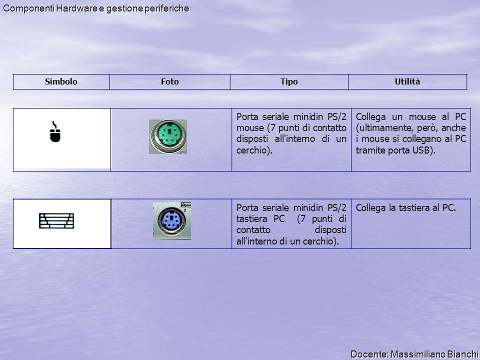 Docente: Massimiliano Bianchi Componenti Hardware e gestione periferiche Porta parallela 25 pin PC (una fila di 13 e una di 12).