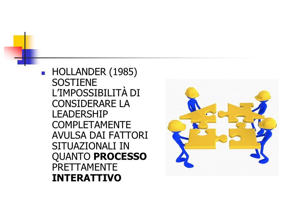 HOLLANDER (1985) SOSTIENE LIMPOSSIBILITÀ DI CONSIDERARE LA LEADERSHIP COMPLETAMENTE AVULSA DAI FATTORI SITUAZIONALI IN QUANTO PROCESSO PRETTAMENTE INT