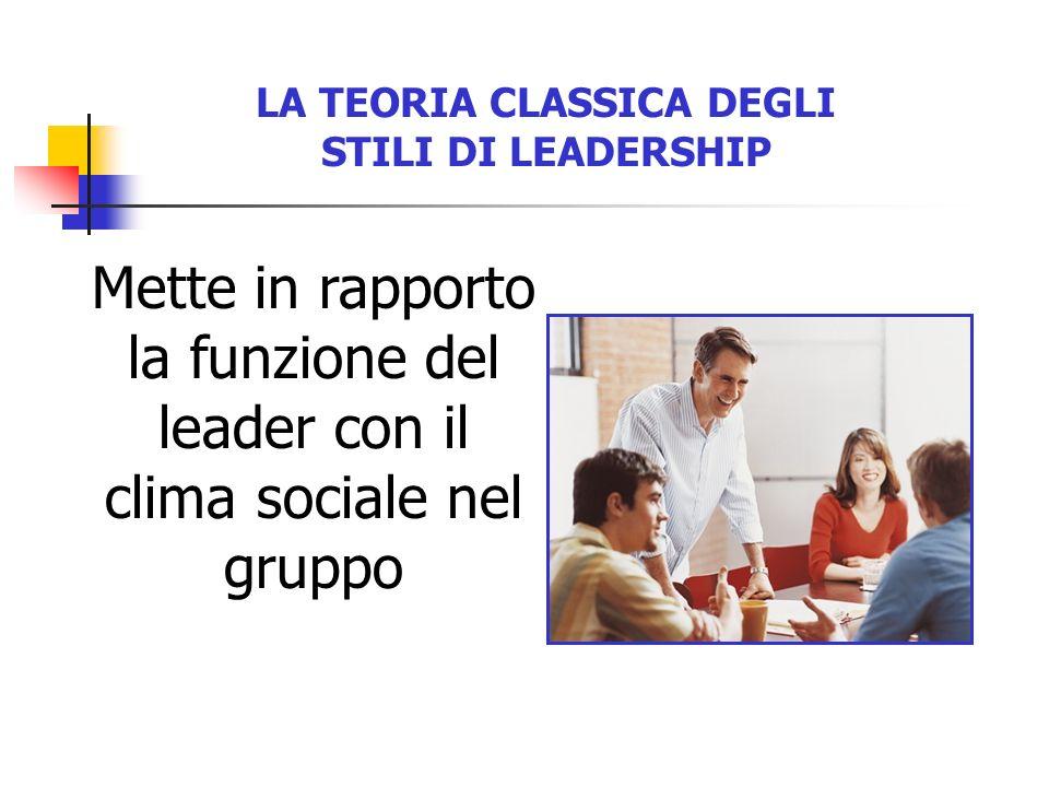 LA TEORIA CLASSICA DEGLI STILI DI LEADERSHIP Mette in rapporto la funzione del leader con il clima sociale nel gruppo