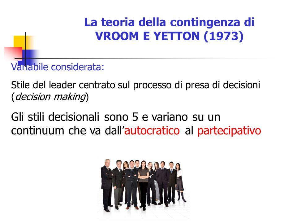 La teoria della contingenza di VROOM E YETTON (1973) Variabile considerata: Stile del leader centrato sul processo di presa di decisioni (decision mak