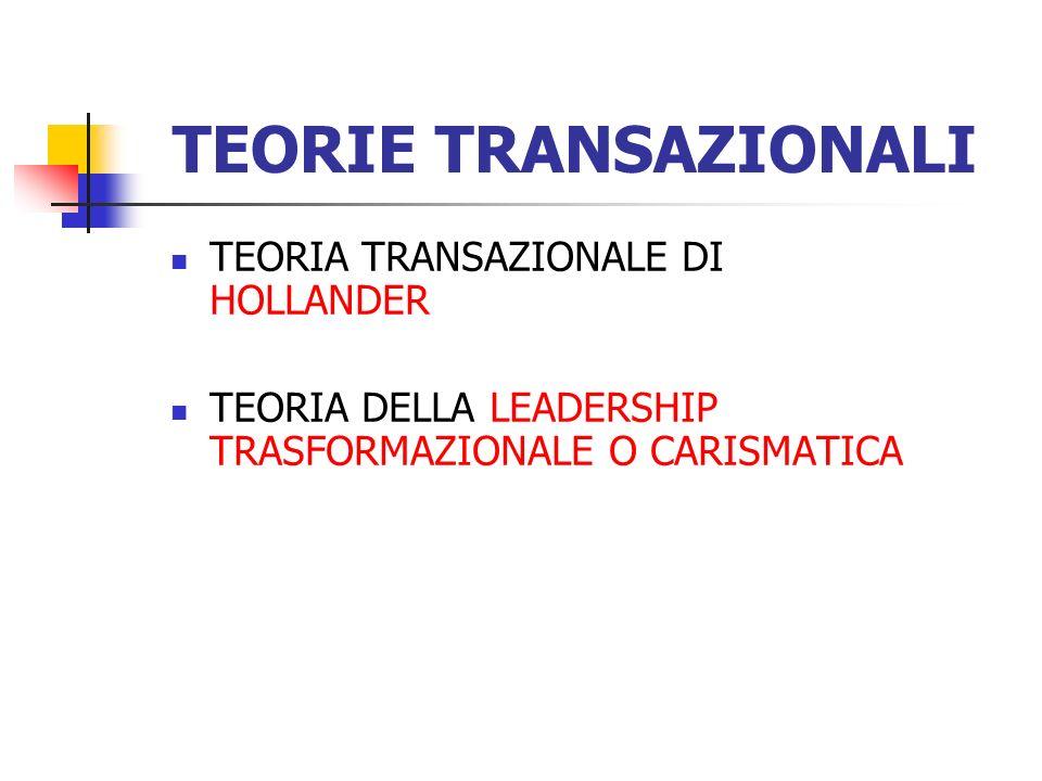 TEORIE TRANSAZIONALI TEORIA TRANSAZIONALE DI HOLLANDER TEORIA DELLA LEADERSHIP TRASFORMAZIONALE O CARISMATICA