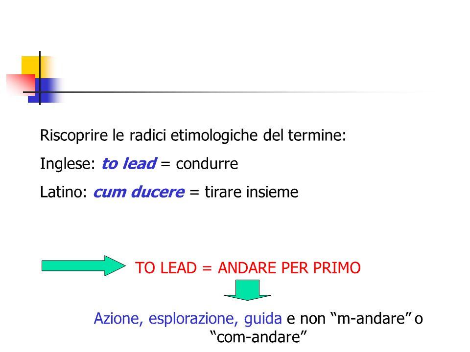 Riscoprire le radici etimologiche del termine: Inglese: to lead = condurre Latino: cum ducere = tirare insieme TO LEAD = ANDARE PER PRIMO Azione, espl