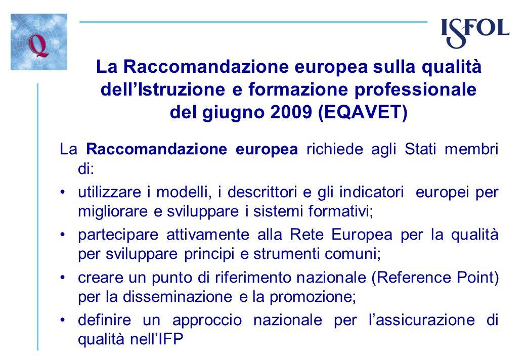 La Raccomandazione europea sulla qualità dellIstruzione e formazione professionale del giugno 2009 (EQAVET) La Raccomandazione europea richiede agli S