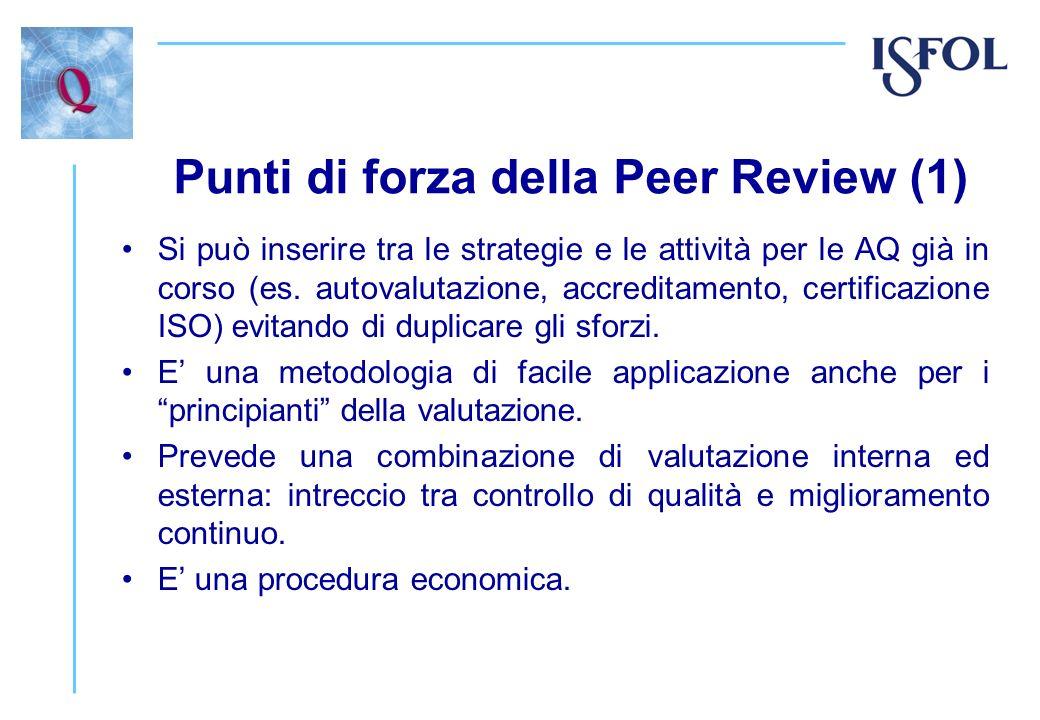 Punti di forza della Peer Review (1) Si può inserire tra le strategie e le attività per le AQ già in corso (es. autovalutazione, accreditamento, certi