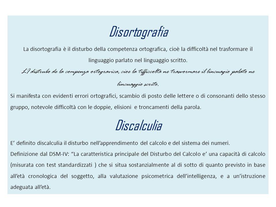 Disortografia La disortografia è il disturbo della competenza ortografica, cioè la difficoltà nel trasformare il linguaggio parlato nel linguaggio scr