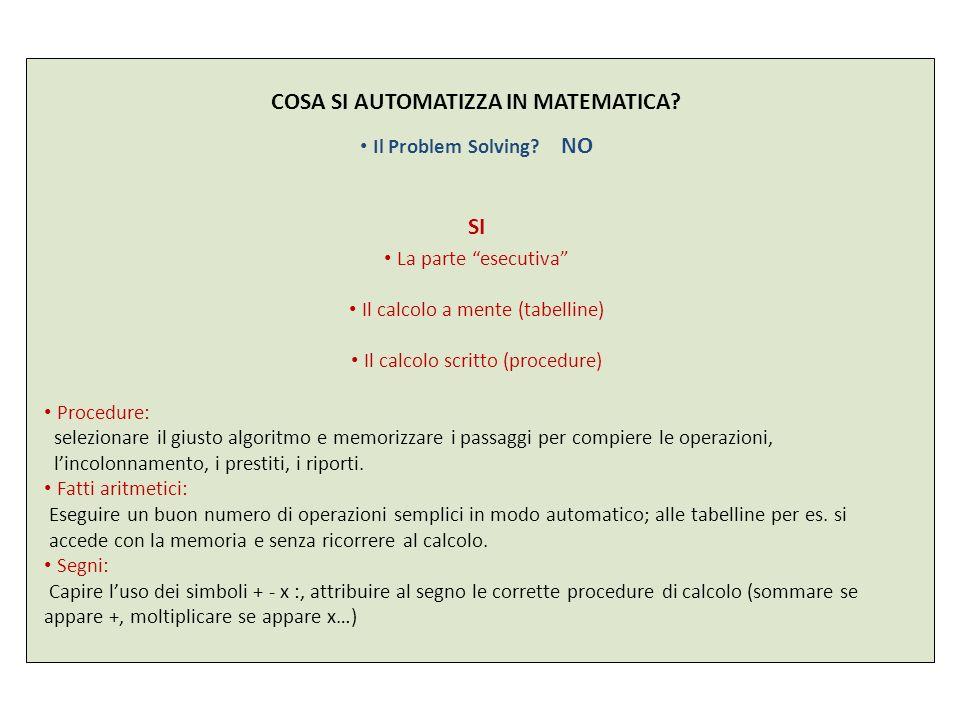 COSA SI AUTOMATIZZA IN MATEMATICA? Il Problem Solving? NO SI La parte esecutiva Il calcolo a mente (tabelline) Il calcolo scritto (procedure) Procedur