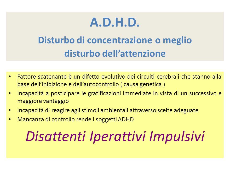 A.D.H.D. Disturbo di concentrazione o meglio disturbo dellattenzione Fattore scatenante è un difetto evolutivo dei circuiti cerebrali che stanno alla