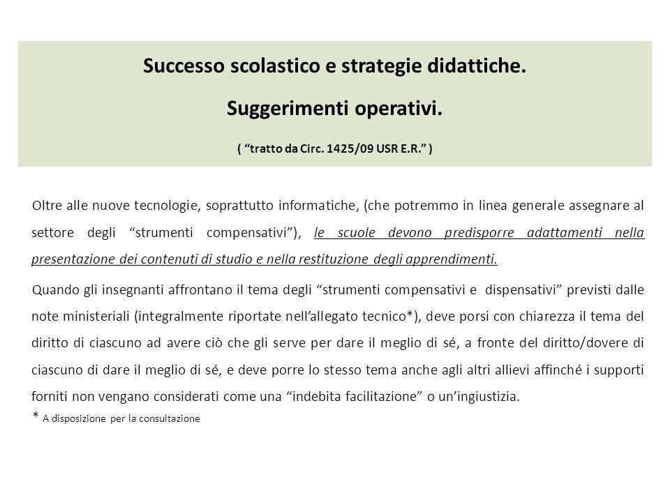 Successo scolastico e strategie didattiche. Suggerimenti operativi. ( tratto da Circ. 1425/09 USR E.R. ) Oltre alle nuove tecnologie, soprattutto info
