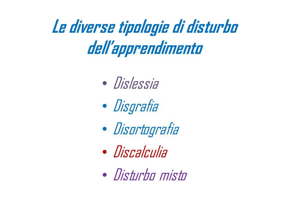 Le diverse tipologie di disturbo dellapprendimento Dislessia Disgrafia Disortografia Discalculia Disturbo misto