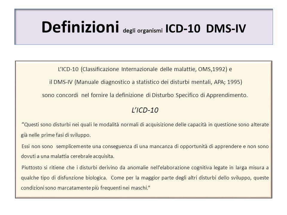 Definizioni degli organismi ICD-10 DMS-IV LICD-10 (Classificazione Internazionale delle malattie, OMS,1992) e il DMS-IV (Manuale diagnostico a statist