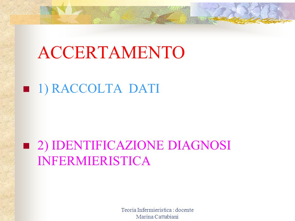Teoria Infermieristica : docente Marina Cattabiani ACCERTAMENTO 1) RACCOLTA DATI 2) IDENTIFICAZIONE DIAGNOSI INFERMIERISTICA