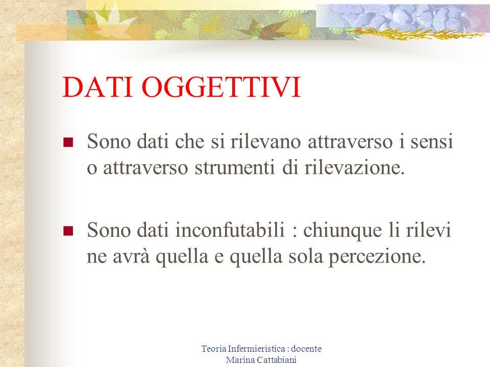 Teoria Infermieristica : docente Marina Cattabiani DATI OGGETTIVI Sono dati che si rilevano attraverso i sensi o attraverso strumenti di rilevazione.