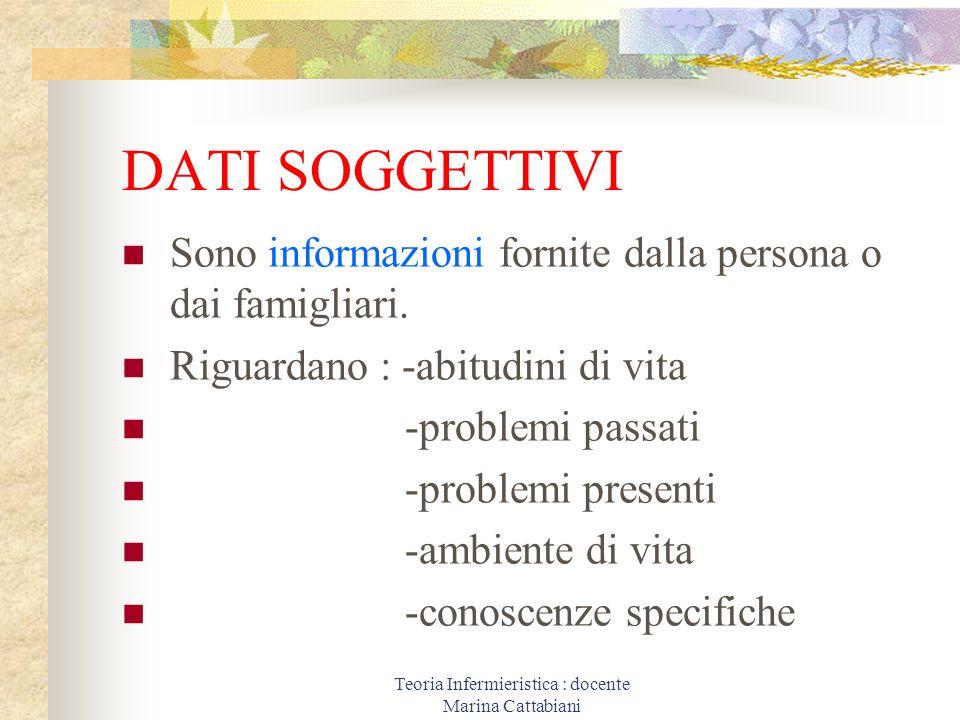 Teoria Infermieristica : docente Marina Cattabiani DATI SOGGETTIVI Sono informazioni fornite dalla persona o dai famigliari. Riguardano : -abitudini d
