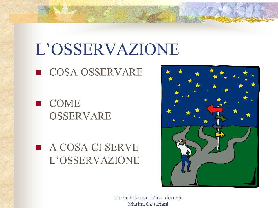 Teoria Infermieristica : docente Marina Cattabiani LOSSERVAZIONE COSA OSSERVARE COME OSSERVARE A COSA CI SERVE LOSSERVAZIONE