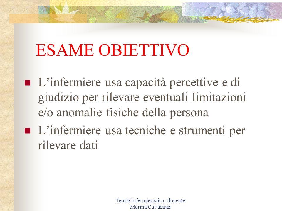 Teoria Infermieristica : docente Marina Cattabiani ESAME OBIETTIVO Linfermiere usa capacità percettive e di giudizio per rilevare eventuali limitazion