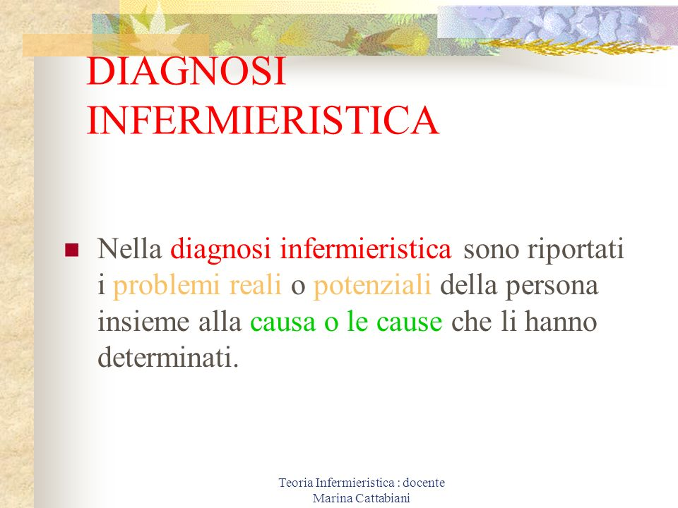 Teoria Infermieristica : docente Marina Cattabiani DIAGNOSI INFERMIERISTICA Nella diagnosi infermieristica sono riportati i problemi reali o potenzial
