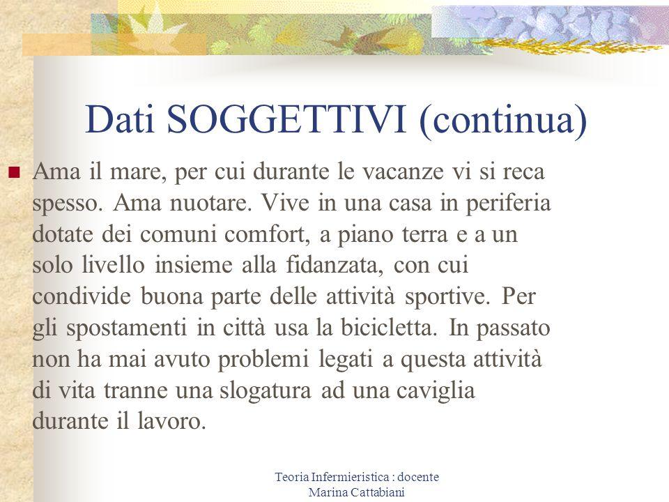 Teoria Infermieristica : docente Marina Cattabiani Dati SOGGETTIVI (continua) Ama il mare, per cui durante le vacanze vi si reca spesso. Ama nuotare.