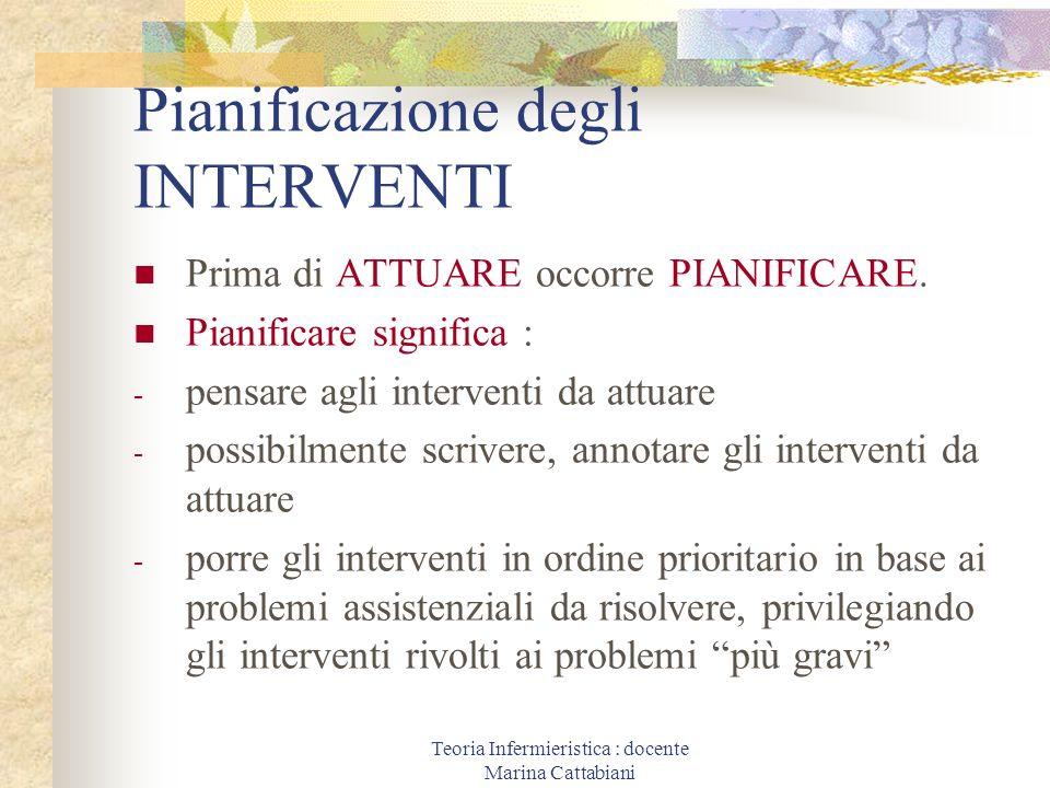 Teoria Infermieristica : docente Marina Cattabiani Pianificazione degli INTERVENTI Prima di ATTUARE occorre PIANIFICARE. Pianificare significa : - pen