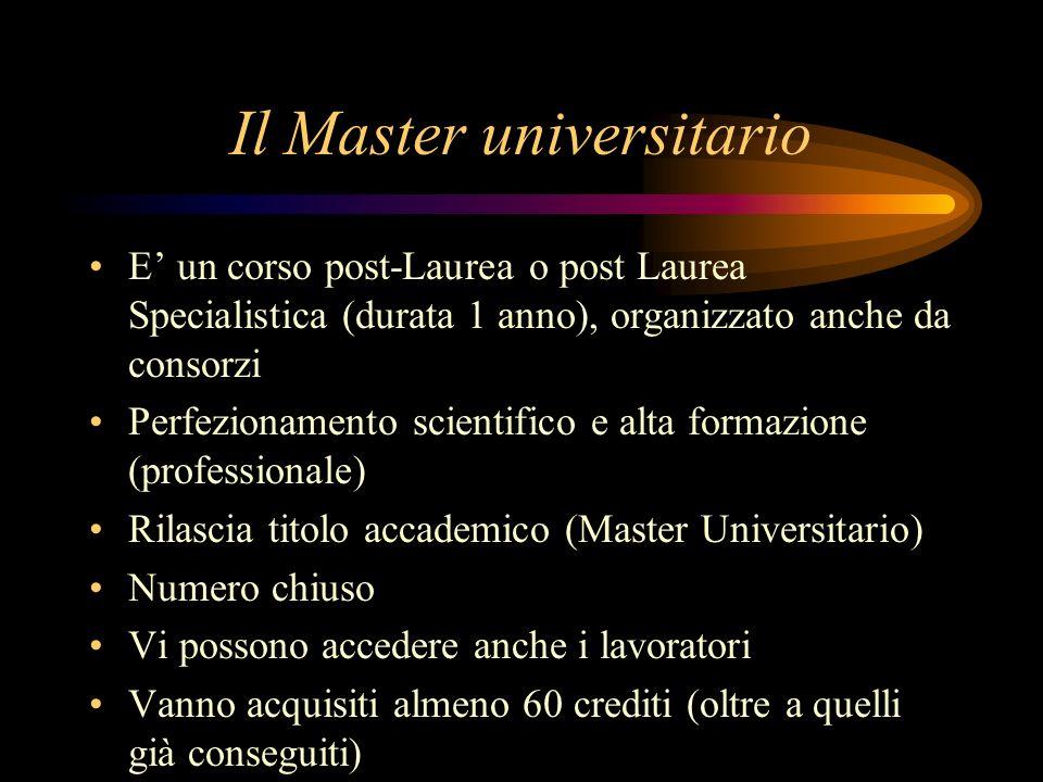 Il Master universitario E un corso post-Laurea o post Laurea Specialistica (durata 1 anno), organizzato anche da consorzi Perfezionamento scientifico