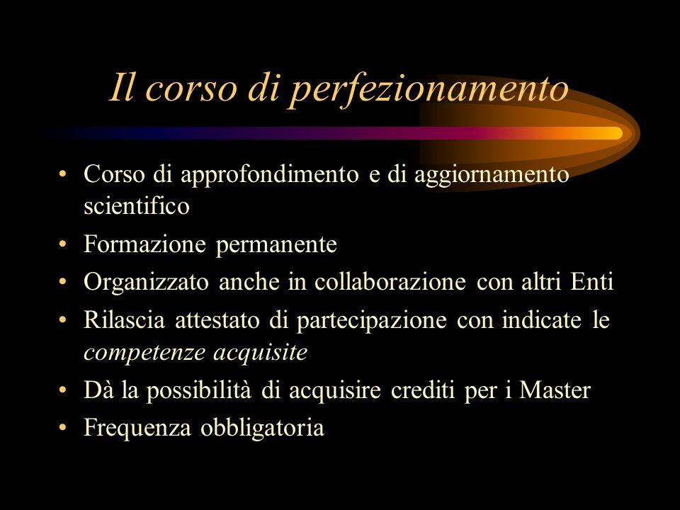 Il corso di perfezionamento Corso di approfondimento e di aggiornamento scientifico Formazione permanente Organizzato anche in collaborazione con altr