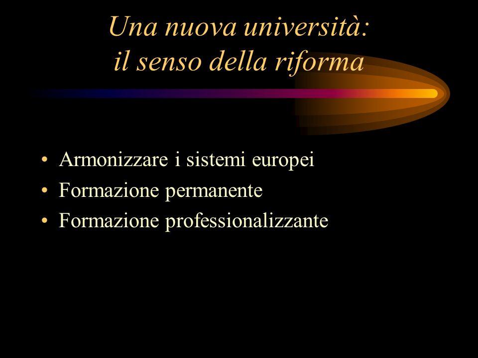 Una nuova università: il senso della riforma Armonizzare i sistemi europei Formazione permanente Formazione professionalizzante