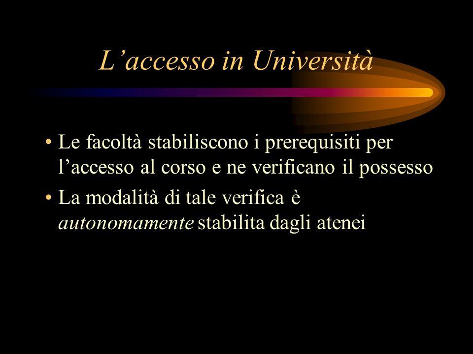 Laccesso in Università Le facoltà stabiliscono i prerequisiti per laccesso al corso e ne verificano il possesso La modalità di tale verifica è autonomamente stabilita dagli atenei