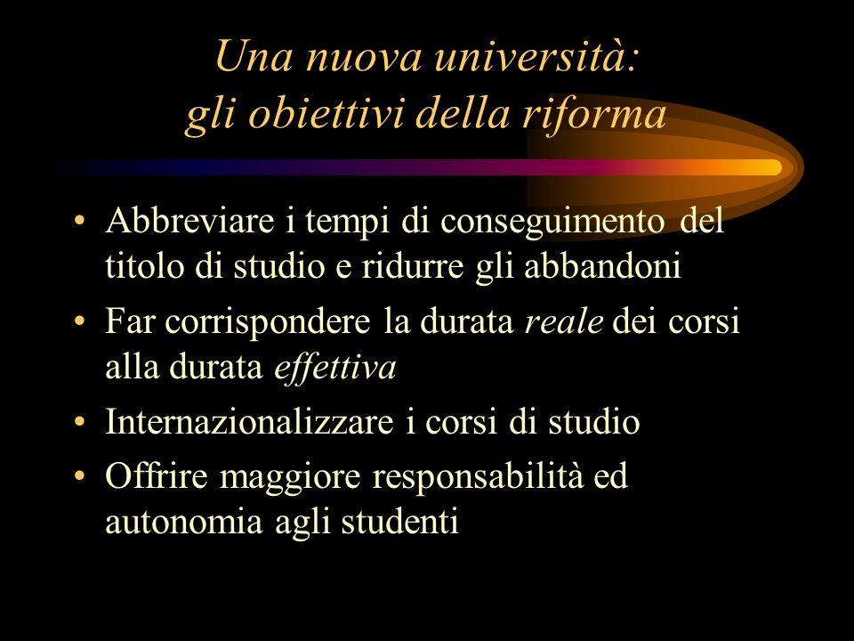 Una nuova università: gli obiettivi della riforma Abbreviare i tempi di conseguimento del titolo di studio e ridurre gli abbandoni Far corrispondere l