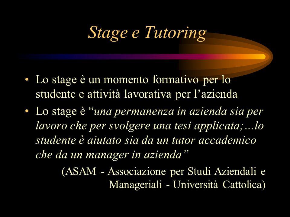 Stage e Tutoring Lo stage è un momento formativo per lo studente e attività lavorativa per lazienda Lo stage è una permanenza in azienda sia per lavor