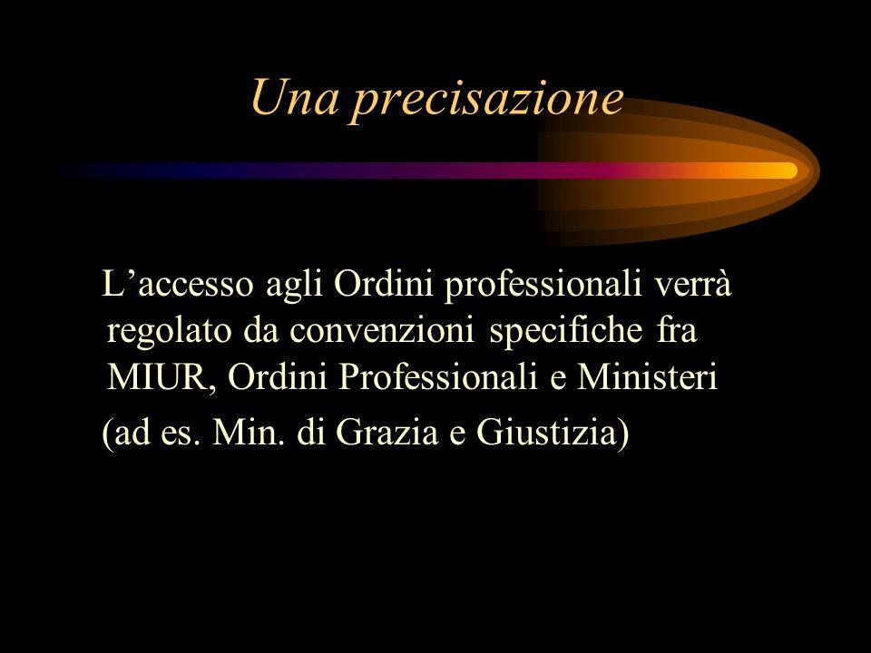 Una precisazione Laccesso agli Ordini professionali verrà regolato da convenzioni specifiche fra MIUR, Ordini Professionali e Ministeri (ad es.