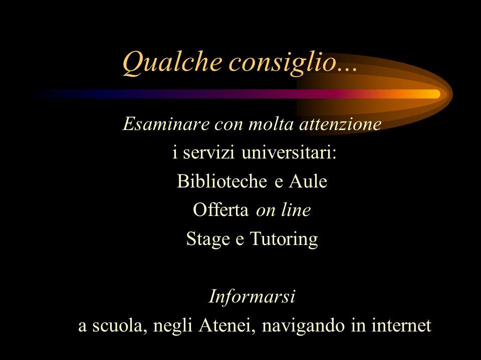 Qualche consiglio... Esaminare con molta attenzione i servizi universitari: Biblioteche e Aule Offerta on line Stage e Tutoring Informarsi a scuola, n