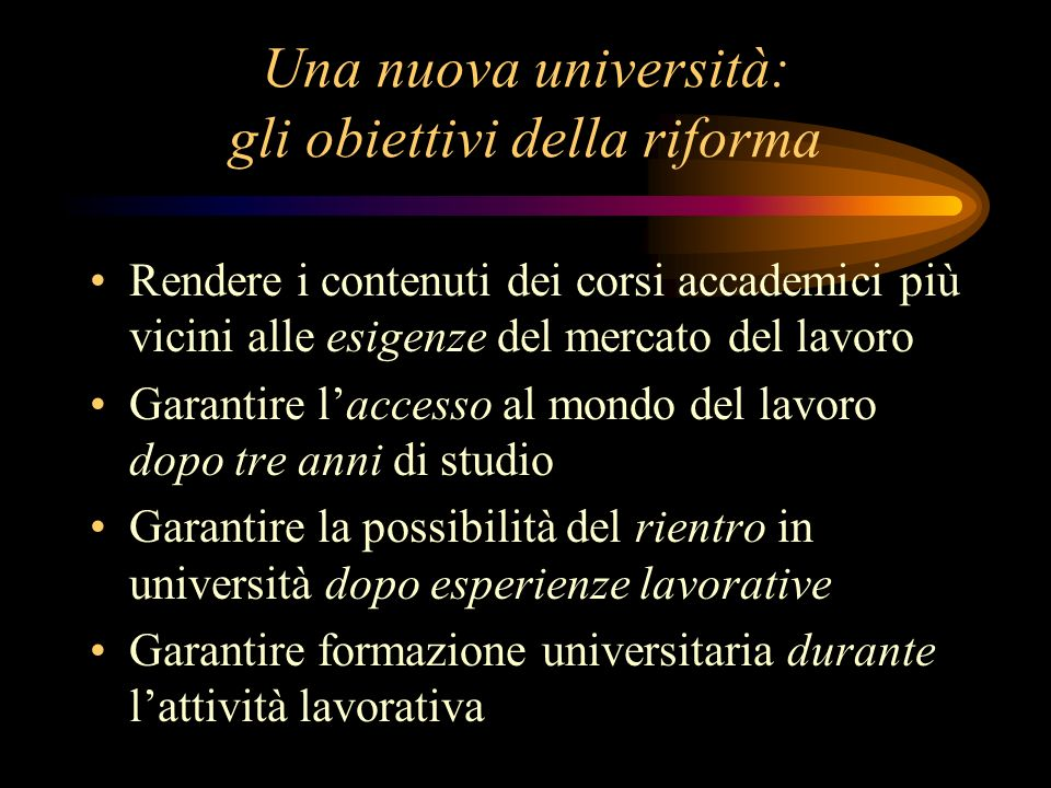 Una nuova università: gli obiettivi della riforma Rendere i contenuti dei corsi accademici più vicini alle esigenze del mercato del lavoro Garantire l