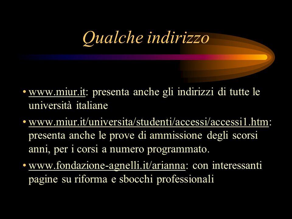 Qualche indirizzo www.miur.it: presenta anche gli indirizzi di tutte le università italiane www.miur.it/universita/studenti/accessi/accessi1.htm: presenta anche le prove di ammissione degli scorsi anni, per i corsi a numero programmato.
