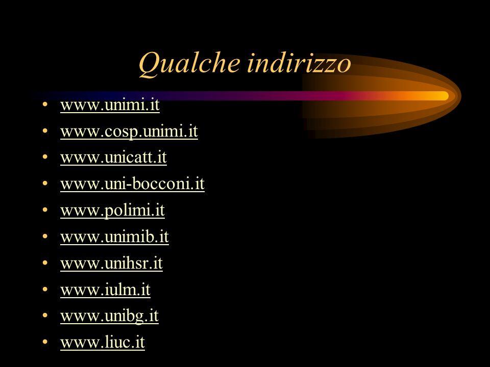 Qualche indirizzo www.unimi.it www.cosp.unimi.it www.unicatt.it www.uni-bocconi.it www.polimi.it www.unimib.it www.unihsr.it www.iulm.it www.unibg.it