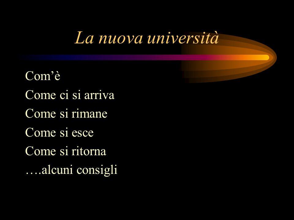 La nuova università Comè Come ci si arriva Come si rimane Come si esce Come si ritorna ….alcuni consigli