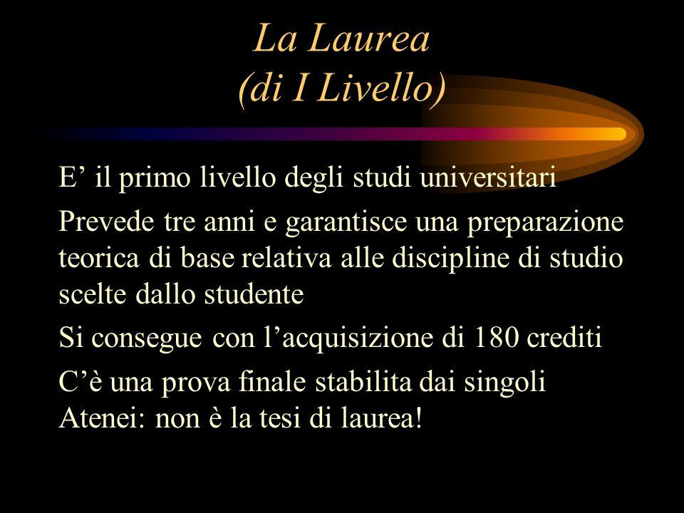 La Laurea (di I Livello) E il primo livello degli studi universitari Prevede tre anni e garantisce una preparazione teorica di base relativa alle disc