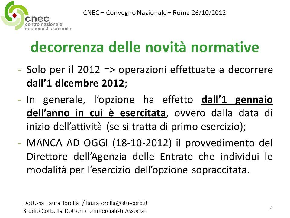 decorrenza delle novità normative -Solo per il 2012 => operazioni effettuate a decorrere dall1 dicembre 2012; -In generale, lopzione ha effetto dall1