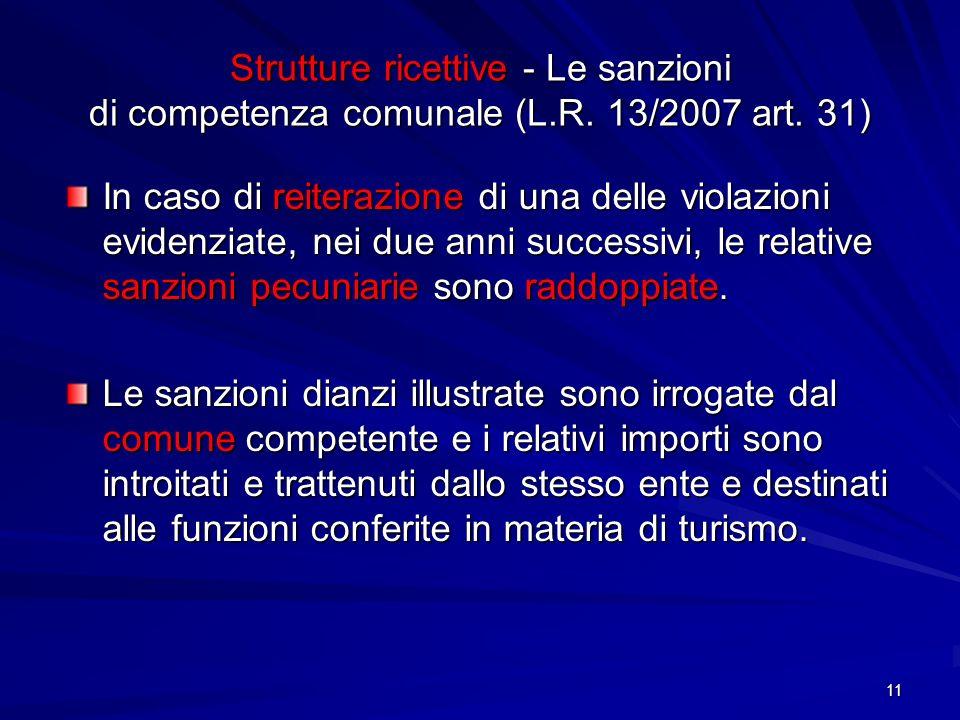 Strutture ricettive - Le sanzioni di competenza comunale (L.R. 13/2007 art. 31) In caso di reiterazione di una delle violazioni evidenziate, nei due a