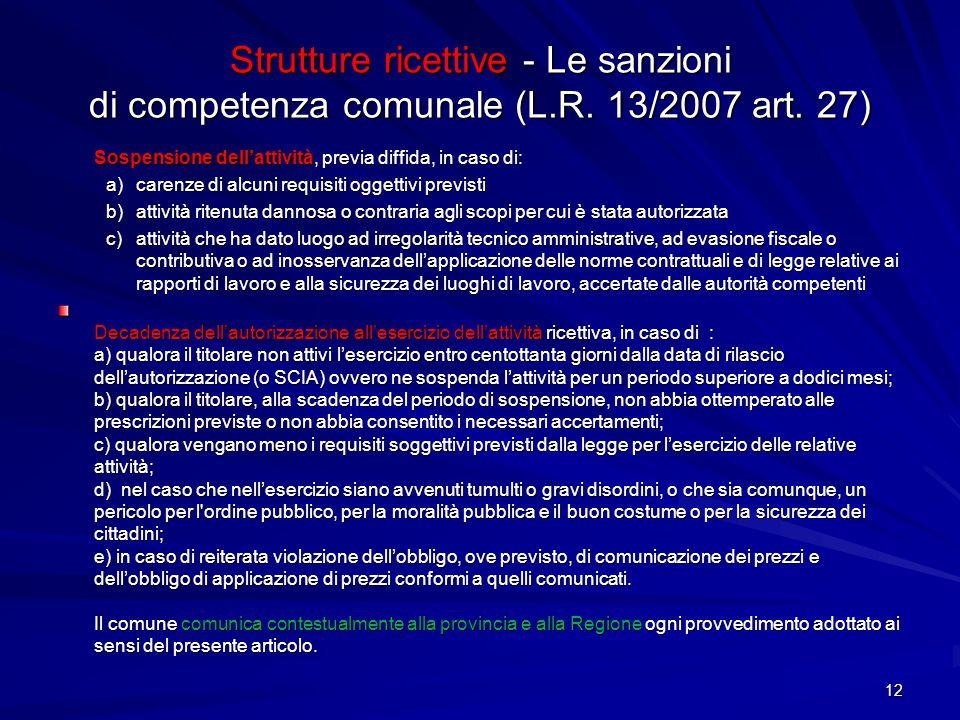 Strutture ricettive - Le sanzioni di competenza comunale (L.R. 13/2007 art. 27) Sospensione dellattività, previa diffida, in caso di: a)carenze di alc
