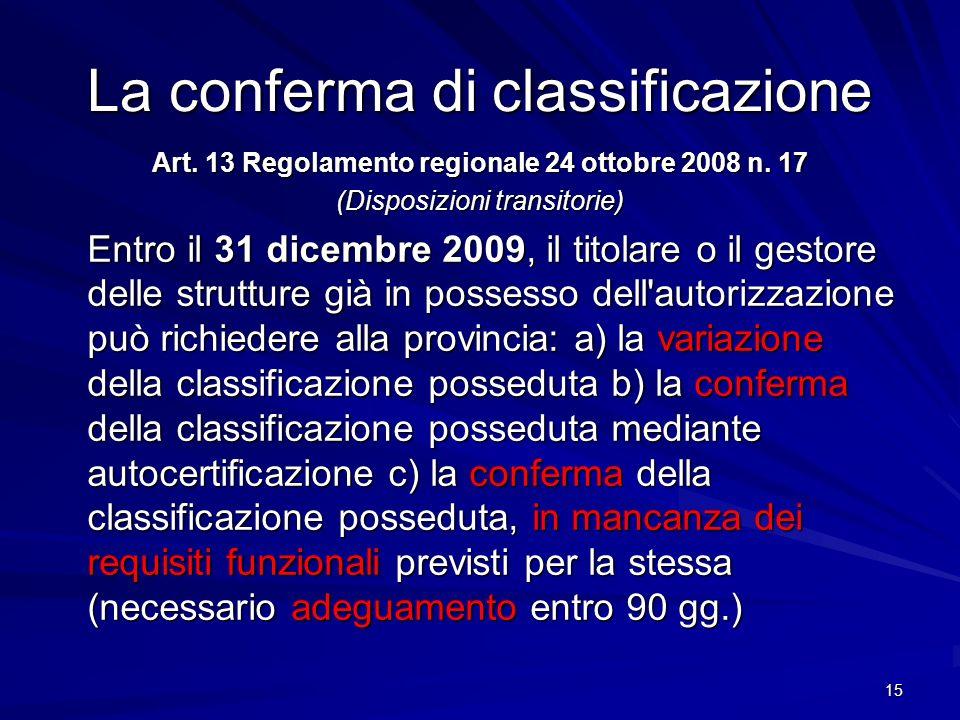 La conferma di classificazione Art. 13 Regolamento regionale 24 ottobre 2008 n. 17 (Disposizioni transitorie) Entro il 31 dicembre 2009, il titolare o
