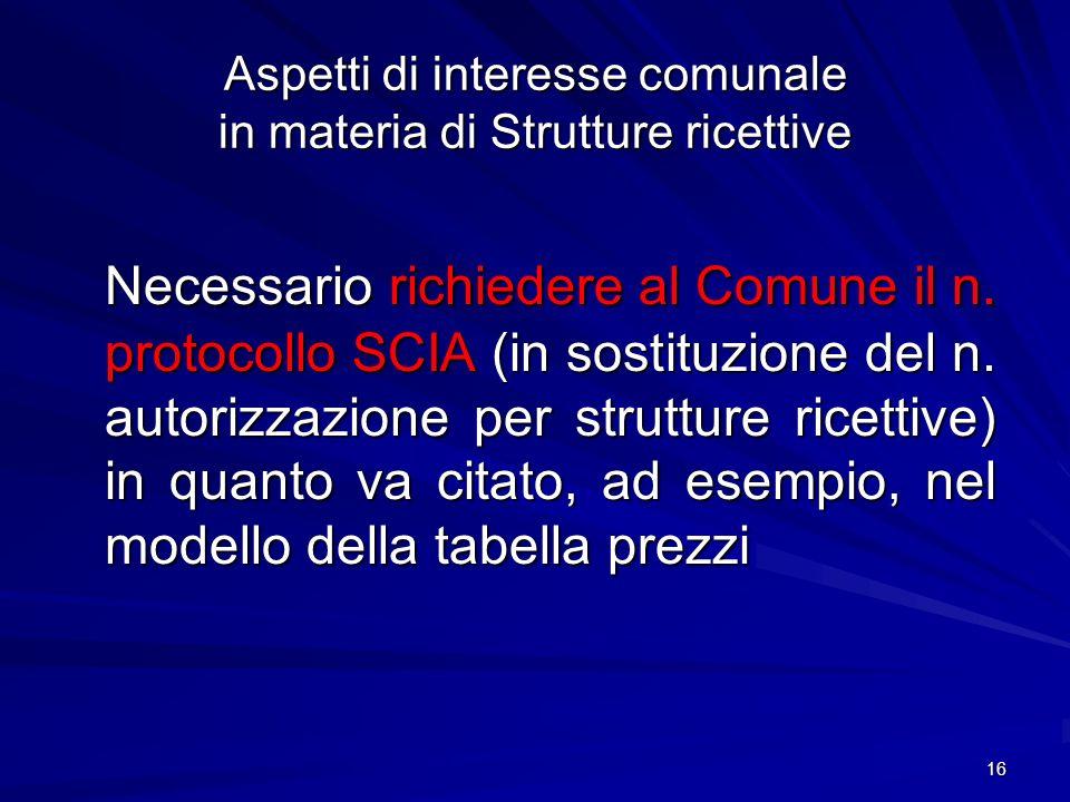 16 Aspetti di interesse comunale in materia di Strutture ricettive Necessario richiedere al Comune il n. protocollo SCIA (in sostituzione del n. autor