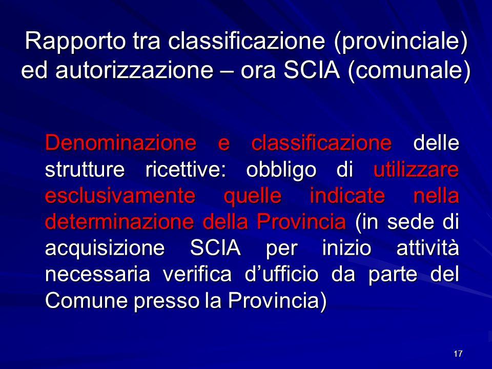 Rapporto tra classificazione (provinciale) ed autorizzazione – ora SCIA (comunale) Denominazione e classificazione delle strutture ricettive: obbligo