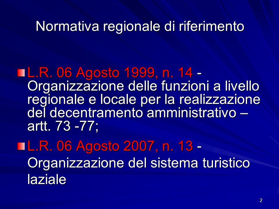 2 Normativa regionale di riferimento L.R. 06 Agosto 1999, n. 14 - Organizzazione delle funzioni a livello regionale e locale per la realizzazione del