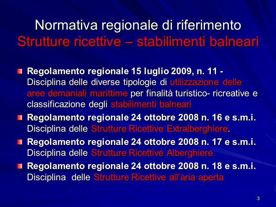 3 Normativa regionale di riferimento Strutture ricettive – stabilimenti balneari Regolamento regionale 15 luglio 2009, n. 11 - Disciplina delle divers