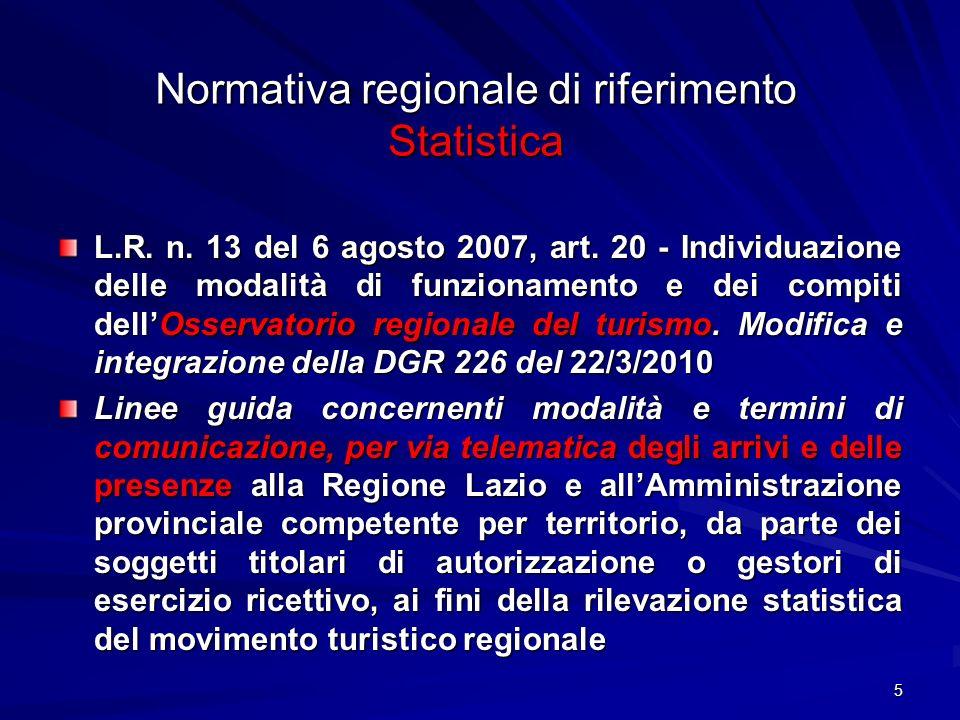 5 Normativa regionale di riferimento Statistica L.R. n. 13 del 6 agosto 2007, art. 20 - Individuazione delle modalità di funzionamento e dei compiti d